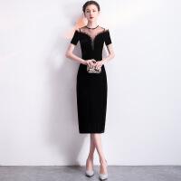 宴会晚礼服2018新款短款聚会派对性感小礼服连衣裙优雅显瘦女 黑色