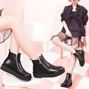 毅雅秋冬季新款短筒圆头厚底靴子短靴女平底及踝靴