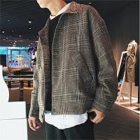 港风冬装立领外套男士加棉加厚呢料风衣日系青年休闲潮流宽松夹克