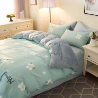 网绒四件套双面法莱绒冬季加厚保暖水晶法兰绒床上被套床单J 1.2m床: 被套150x200cm 床单180x