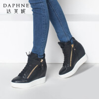 Daphne/达芙妮正品女鞋 冬季内增高女靴子高帮靴休闲坡跟短靴