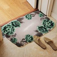 异形玫瑰花朵手工剪花入户门厅垫防滑地垫卧室门垫客厅脚垫 绿色异形花朵 80*120cm异形