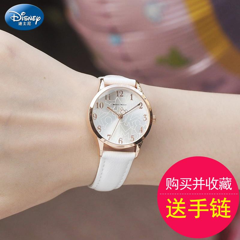 迪士尼学生手表女孩初中学生简约韩版防水女生手表女童儿童手表女W