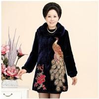 妈妈冬装棉袄中老年女装中长款绣花孔雀棉衣金丝绒婆婆奶奶保暖