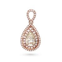 先恩尼钻石 红18K金水滴型 钻石 玫瑰金吊坠 结婚吊坠 群镶钻石豪华款 幸福美满HF1234