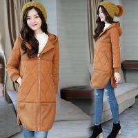 2018冬装新款大码女装秋冬季中长款羊羔毛复合棉衣外套 9968 Z
