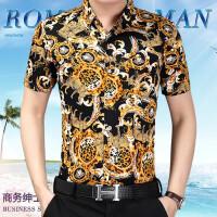 夏季男士短袖花衬衫男装中年大码免烫开衫衬衣上衣长袖格子衬衫