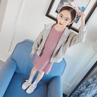 女童2018春季新款时尚2件套连帽开衫纯色外套长款T恤套装
