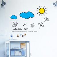 可移除墙贴蓝天白云儿童房间太阳贴纸个性创意清新墙上贴画自粘 天空太阳 大