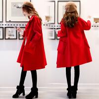 呢子大衣女中长款2018冬装新款韩版大码宽松加厚气质红色毛呢外套