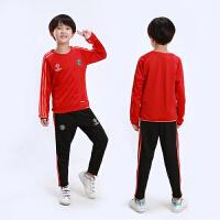 欧冠儿童足球服套装 男童秋冬季长袖足球训练服运动跑步曼联比赛出场队服多特皇马切尔西尤文球衣