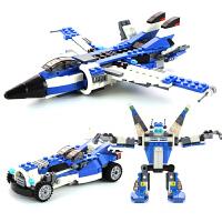组装机器人汽车塑料玩具男孩儿童飞机益智拼装模型