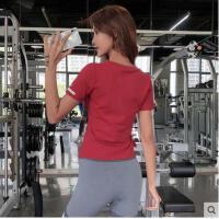运动上衣女短袖修身显瘦薄款训练跑步健身服抽绳款t恤瑜伽服