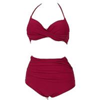 泳衣女高腰遮肚脐显瘦分体比基尼三件套性感聚拢红韩版小香风 酒红色 【不含外衫】
