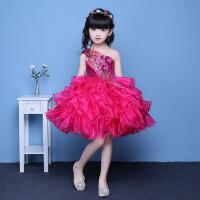 儿童主持人模特走秀演出服蓬蓬裙亮片 女童公主裙宝宝生日晚礼服 枚红色