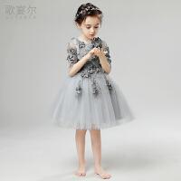 2018年儿童礼服公主裙蓬蓬纱长袖钢琴演出服女孩主持人婚纱裙春夏