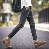 男士牛仔裤秋季新款 潮流韩版青少年黑色修身小脚九分裤子男 黑色