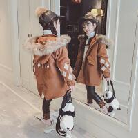 2018新款儿童洋气韩版中大童菱形女孩棉衣外套