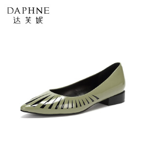 【9.20达芙妮超品2件2折】Daphne/达芙妮 圆漾春秋单鞋漆皮尖头低跟时尚拼接女鞋