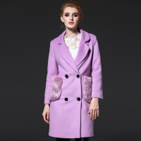 冬款大码女装带毛大口袋毛呢外套女时尚休闲呢子大衣女 浅紫色 M