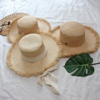 韩国手工拉菲草绑带大沿遮阳帽子女士复古平顶度假礼帽春夏季草帽 M(56-58cm)