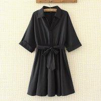 大码女装连衣裙 年春装新款加大加肥宽松黑色遮肚子200斤胖Mm
