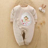 婴儿连体衣纯棉新生儿衣服0-3个月秋季6彩棉春秋装宝宝哈衣
