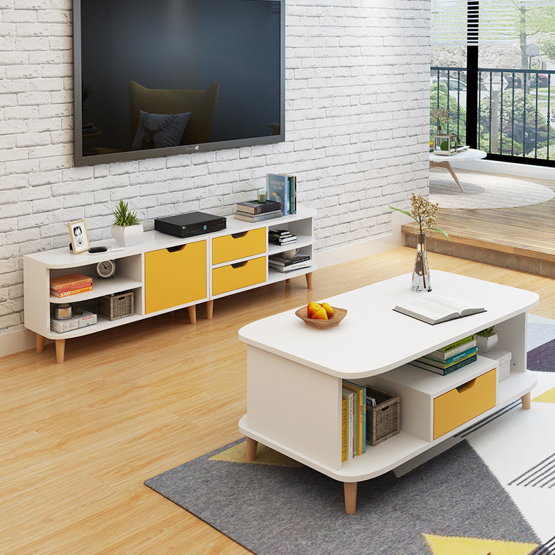 【一件3折】加厚环保客厅北欧风电视柜组合 茶几时尚风小户型日式客厅家具 支持* 加厚耐磨耐用 大容量