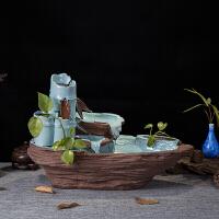 陶瓷�~缸流水�[件客�d家�b工�品��高升加�耢F化器��泉盆