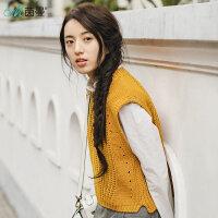茵曼新款套头圆领纯色提花毛织背心女针织衫毛衣【F1881132559】