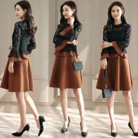 连衣裙女冬季长袖中长款韩版时尚蕾丝拼接鹿皮绒加绒打底裙