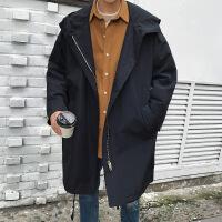 2018秋季新款秋季新款男士中长款风衣韩版宽松连帽薄款夹克青少年宽松潮流外套