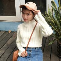 春秋女装新款韩版宽松小高领坑条短款套头毛衣长袖针织衫上衣学生