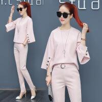 小香风套装2018春季新款女装韩版气质名媛宽松蝙蝠袖时尚两件套潮