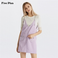 Five Plus女装牛仔连衣裙女宽松背带裙无袖潮纯棉短裙洗水