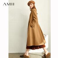 Amii英���L羊毛呢子�p面呢外套女2020冬新款收腰�L款�~尾毛呢大衣