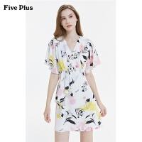 FIVE PLUS2019新款女秋装雪纺印花连衣裙女V领荷叶袖短袖高腰短裙