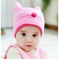婴儿帽子秋冬3-6-个月儿童毛线帽男女宝宝帽子针织套头帽护耳帽
