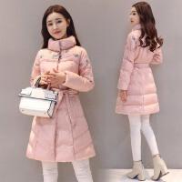 棉衣女中长款韩版2017冬季新款时尚刺绣保暖修身收腰棉袄外套