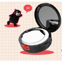 20180628114727786熊本熊美妆移动电源 可爱卡通化妆镜充电宝女生便携七夕创意礼品 黑色,现货