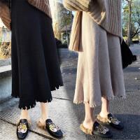 韩观2018秋冬季新款韩女装高腰裙针织毛线百搭中长款显瘦A字半身裙