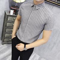 男士短袖衬衫条纹半袖衬衣撞色修身潮流寸衫