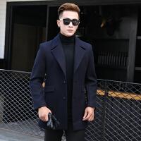 新款毛呢大衣男中长款韩版修身呢子风衣商务休闲加厚外套冬季 藏青色 S