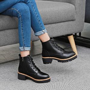 【满200减100】【毅雅】时尚系带休闲粗跟女士短靴子马丁女鞋子YM7WM7867