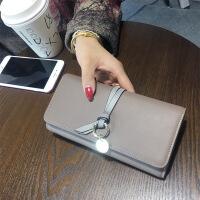 2018新款韩版时尚长款女生钱包女士简约搭扣钱夹手拿包女式手包潮 棕色