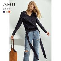 【到手价:115元】Amii极简洋气时尚雪纺衫女2019秋装新款波点宽松V领长袖绑带上衣