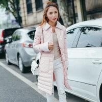棉衣女中长款韩版修身冬季修身单排扣棉袄大码 AQ7183黑色