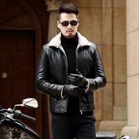 冬装休闲真皮皮衣夹克加绒加厚修身翻领皮毛一体外套男潮