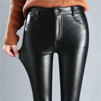 皮裤女新款秋冬季高腰加绒加厚打底裤女外穿保暖黑色小脚裤子