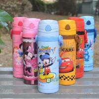 迪士尼保温杯儿童米奇不锈钢带吸管保温杯学生水壶宝宝水杯子